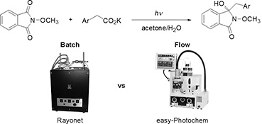 Photodecarboxylative Benzylations of N-Methoxyphthalimide under Batch and Continuous-Flow Conditions