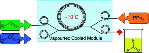 Ozonolysis in flow using capillary reactor