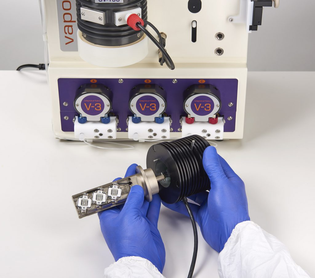 A Vapourtec E-Series with V-3 Pumps and the UV-150 Photochemical Reactor
